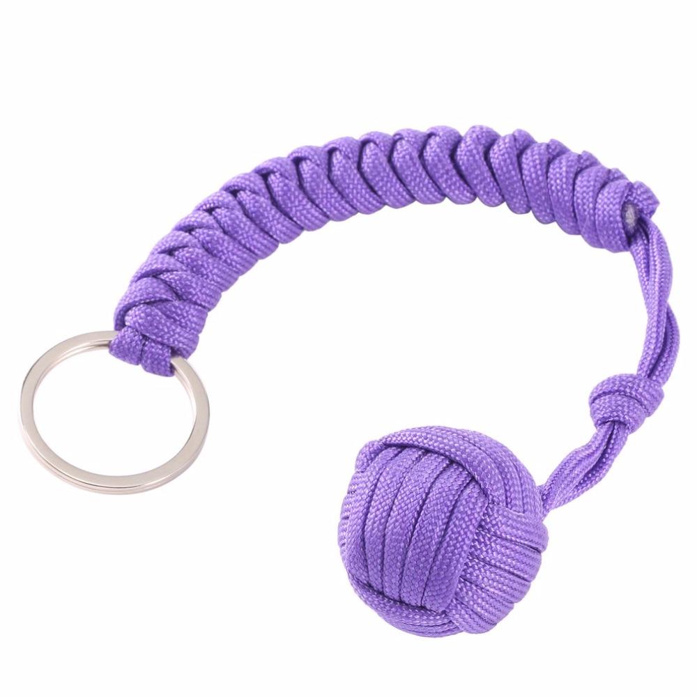 Monkey Fist Steel Ball Protection de sécurité extérieure portant auto-défense longe outil de survie clé chaîne multifonctionnel Keychain