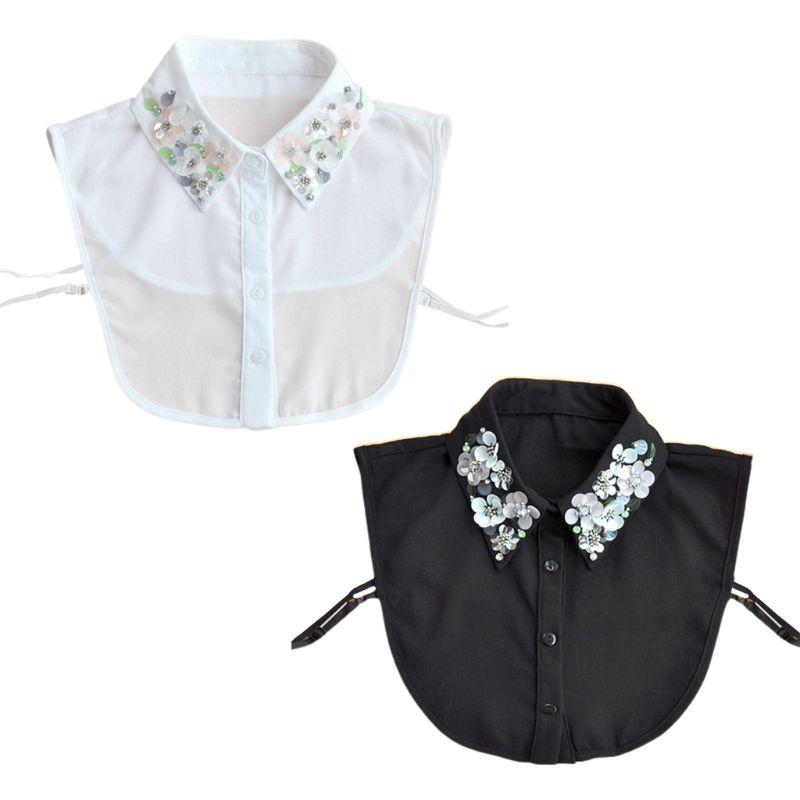 Frauen abnehmbare rüschen hohlen blume shirt gefälschte kragen falsche