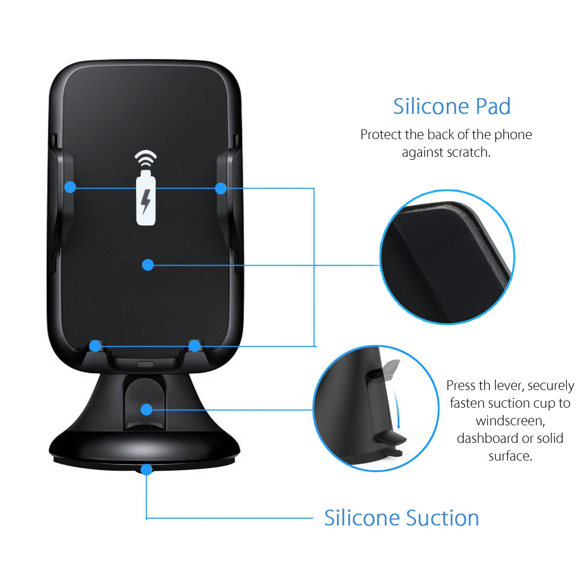 Universale 2 in 1 5W Qi Wireless Car Charger Pad supporto telefono cellulare parabrezza supporto ventosa clip iPhone XR XS MAS