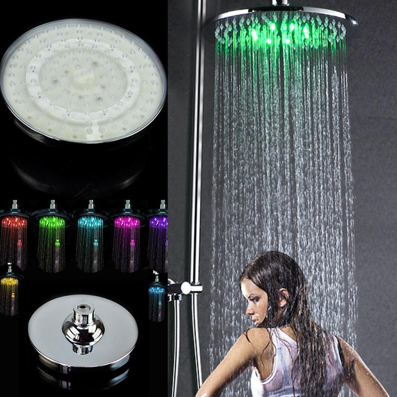 "Automatic Changing 8"" Round Bathroom LED Light Rain Top Shower Head ABS Bathroom Product Home Improvement Shower Head"