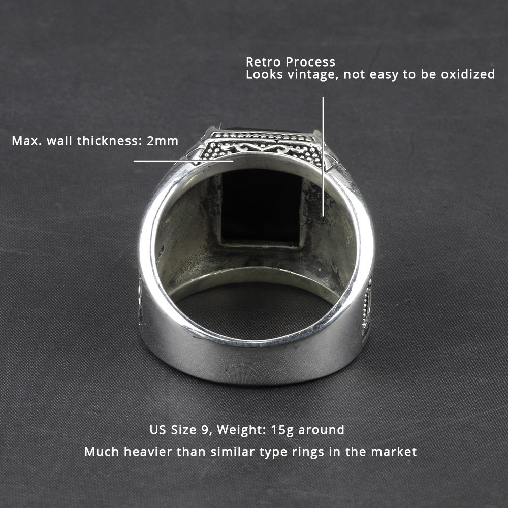 Vintage Ring Men Real Pure 925 Sterling Silver Jewelry Black Obsidian Natural Stone Rings For Mens Punk Rock Fashion J190618