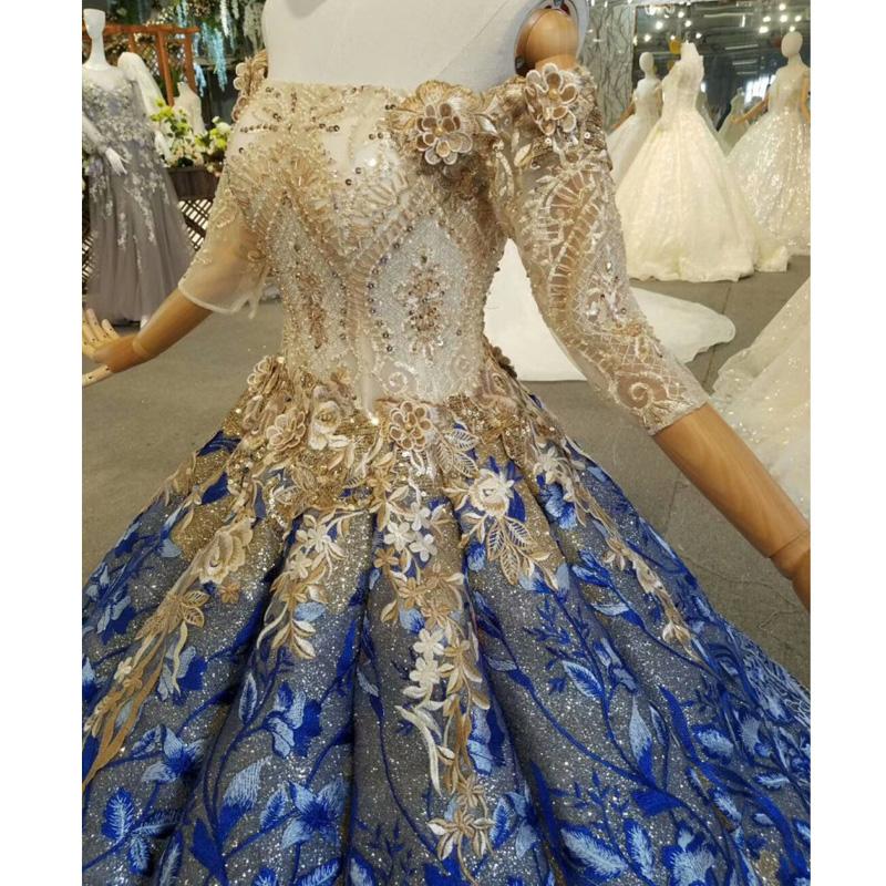 Altın Glitter Abiye Gelinlik 2019 yeni tasarım 3/4 Kollu Kapalı Omuz Mavi Dantel Custom Made Gerçek Fotoğraflar Gelin törenlerinde