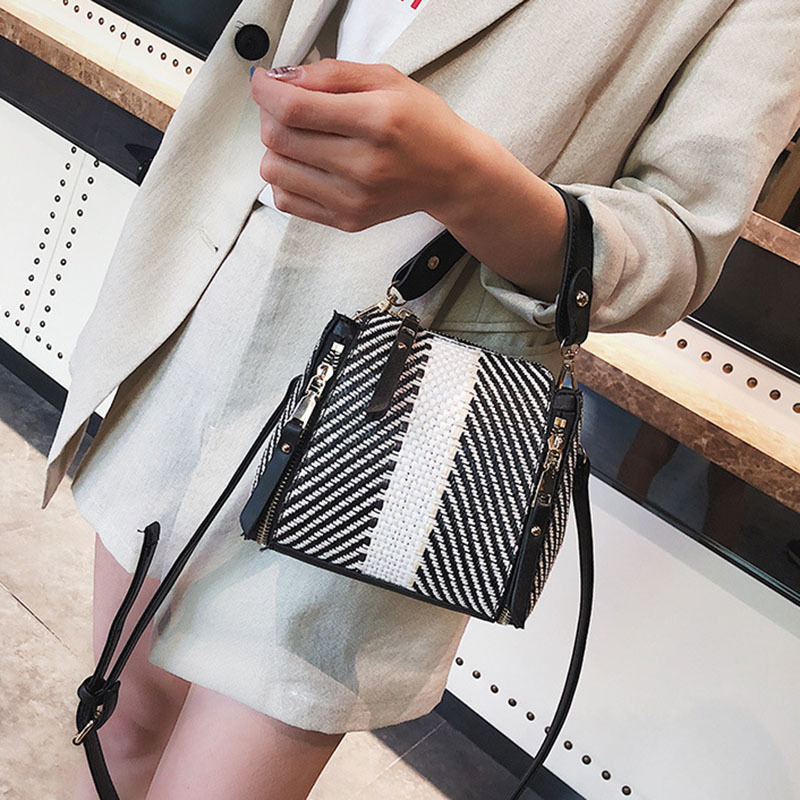 Hot Women Panelled Handbag INS Popular Female Casual Summer Straw Bags Lady Beach Shoulder Bag Fashion Travel Woven Tote SS7221 (11)
