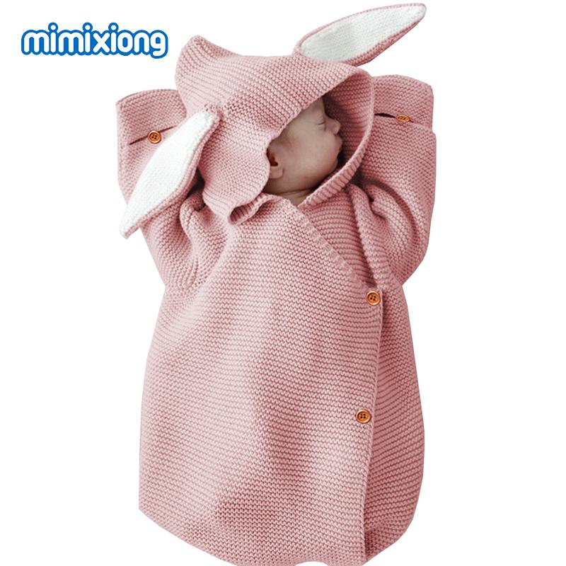 Adorable Rabbit Baby Stroller Sleeping Bag Spring Autumn Newborn Infant Knitted Swaddle Wrap Nest Envelopes For Toddler Kid 0-1Y
