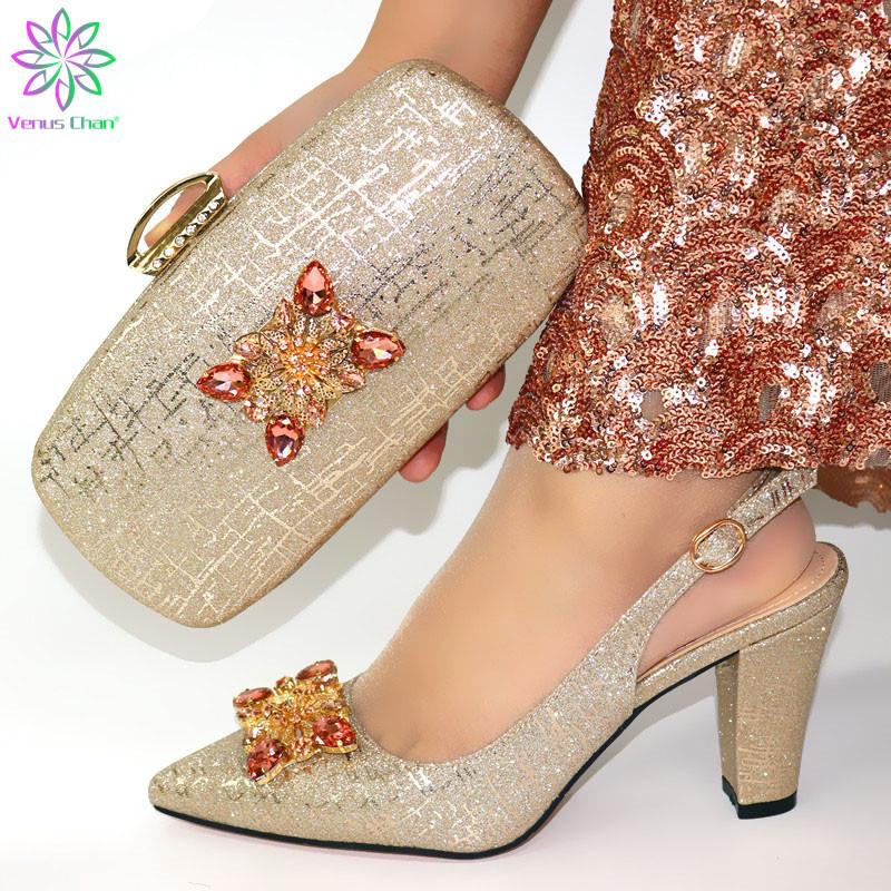 Nouvelle arrivée Light Gold Chaussures italiennes et sac Ensembles Chaussures de vente chaud d'Afrique et ensembles Sac Party En Italie Femmes