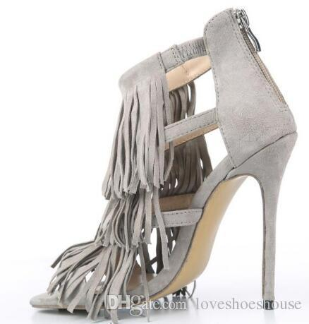 Charm2019 Summer Style Tassel Suede Women Sandals Thin High Heels Back Zip Dress Party Shoes For Women Girl Grey Yellow Pumps