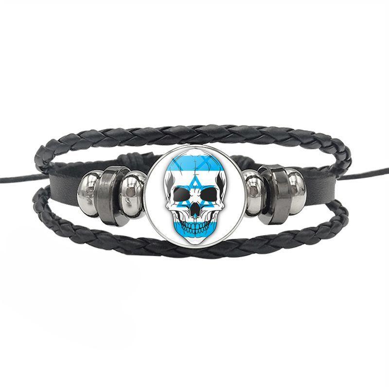 Militaire drapeau Verre Cabochon Bracelets Tressé Bracelet En Cuir Bracelet