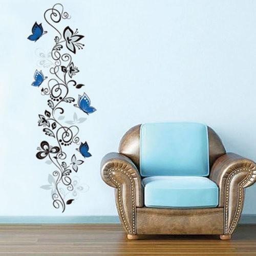 papillons fleur de vigne stickers muraux salon décor x016. bricolage maison stickers animaux art mural impression pvc affiches 4.0