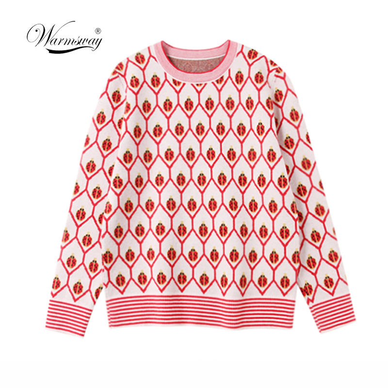 Women Lady Jumper ladybug Jacquard Sweater Pullover Tops Coat Christmas Winter Womens Ladies Warm Brief Sweaters Clothing C-408