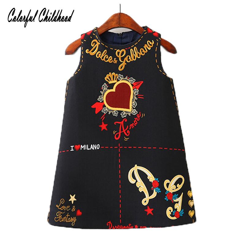 Meninas do bebê Vestidos Sem Mangas O Pescoço Criança Vestido Lindo Coração Através Do Projeto Do Coração Bordado Roupas Infantis Do Bebê Jurk J190426