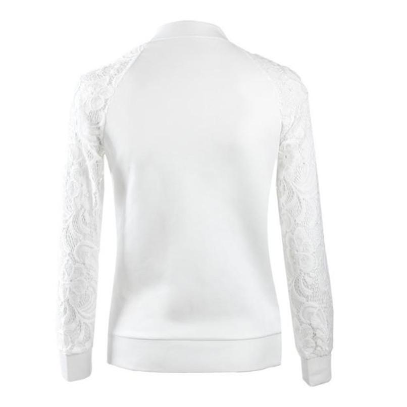 Lace Sleeve Women Basic Coats Long Sleeve Lace Patchwork Transparent Zipper Casual Slim Jacket Coat Bomber Jacket Outwear 40OC316