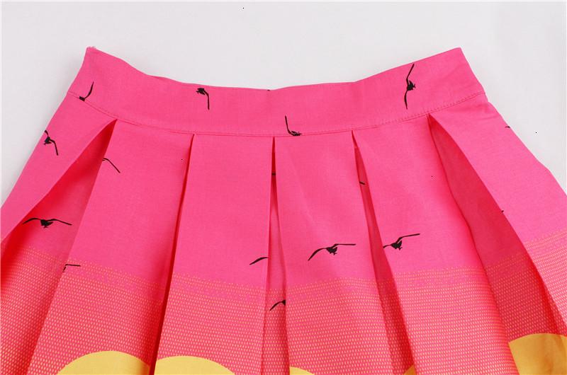 Kostlish Retro Print Flower Summer Skirts Womens High Waist Vintage Skirt Elegant A-Line Midi Women Skirt Plus Size XXL 22 (58)