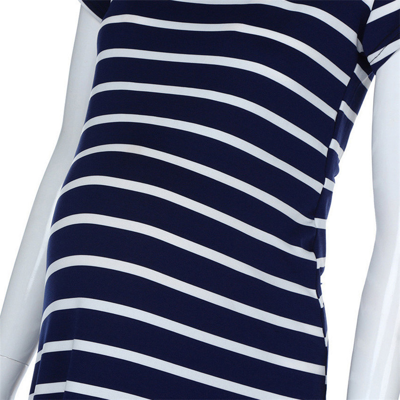 deee7fbc9b48 ... Summer Maternity Clothes Fashion Women Pregnants Maternity Striped  Short Sleeve Ankle-Length Dress Casual Pregnancy