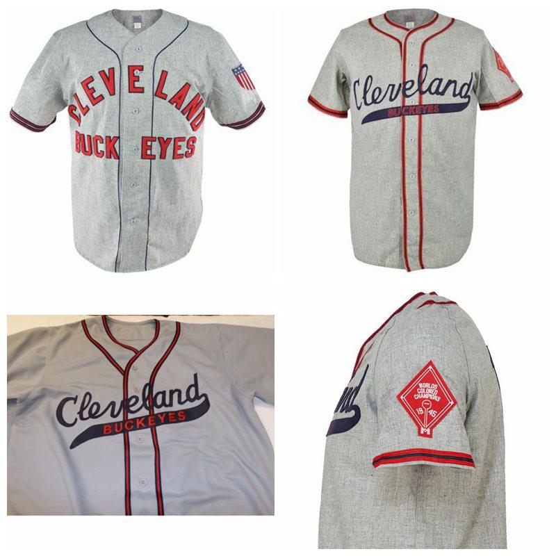 ANY # SIZE CLEVELAND BUCKEYES 1946 Road BASEBALL JERSEY SEWN NEW ANY NAME