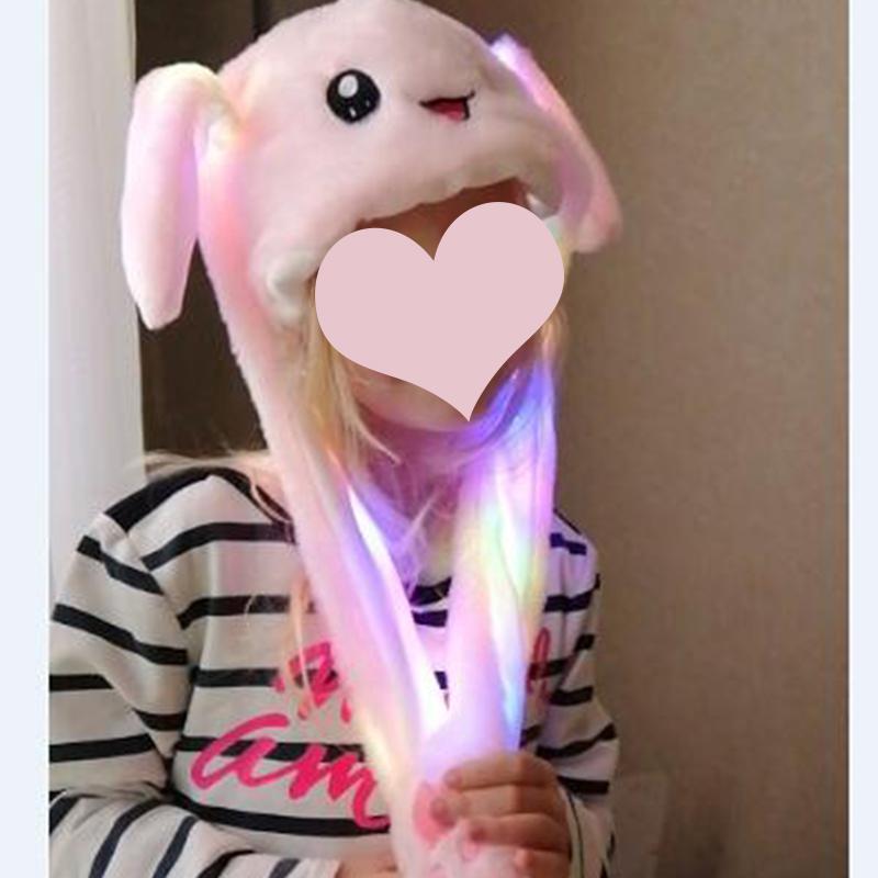 Divertente Cappello Donna Uomo Bambini Cappello illuminazione orecchie peluche di orecchie del coniglio pu/ò spostare dei bambini della protezione di lustro inverno caldo cappello di partito
