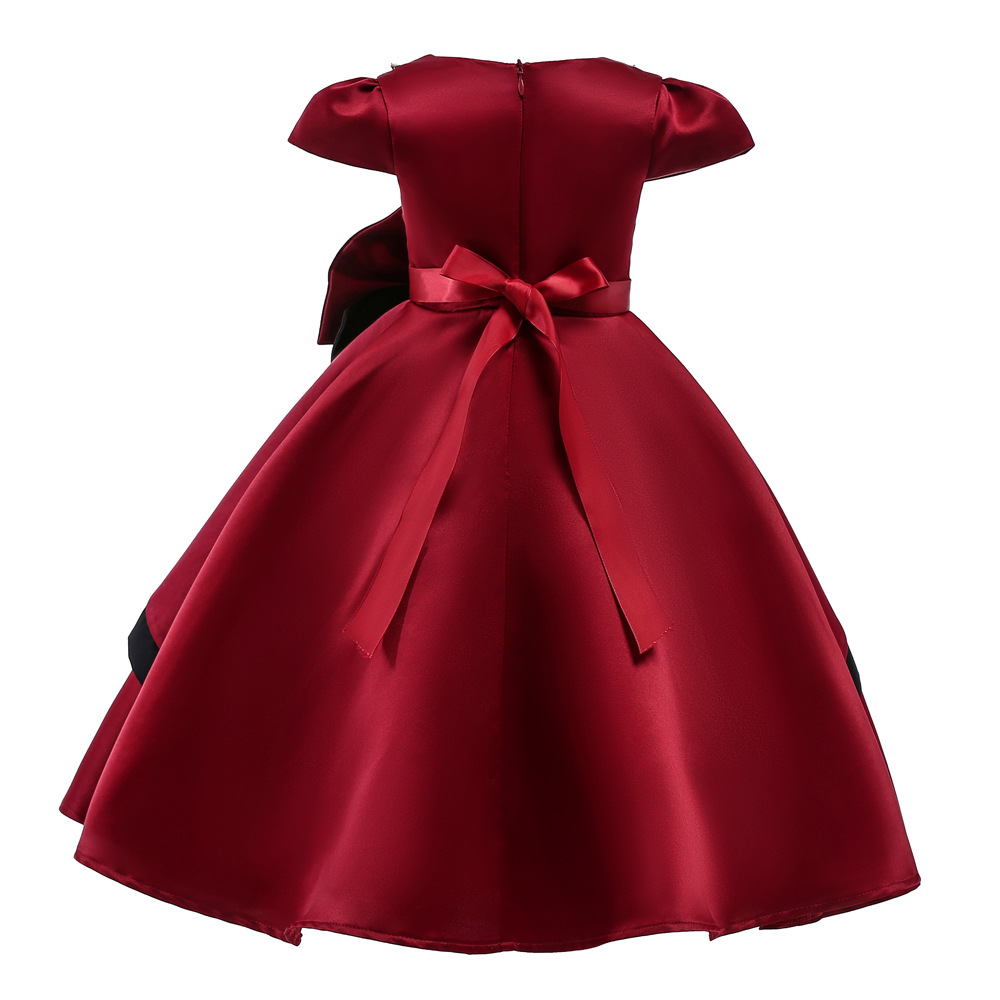 Wine Red Big Bow Flower Girls Dress Elegant Red Party Princess Costume Cute Design Soft Cotton Lining Dress for Kids
