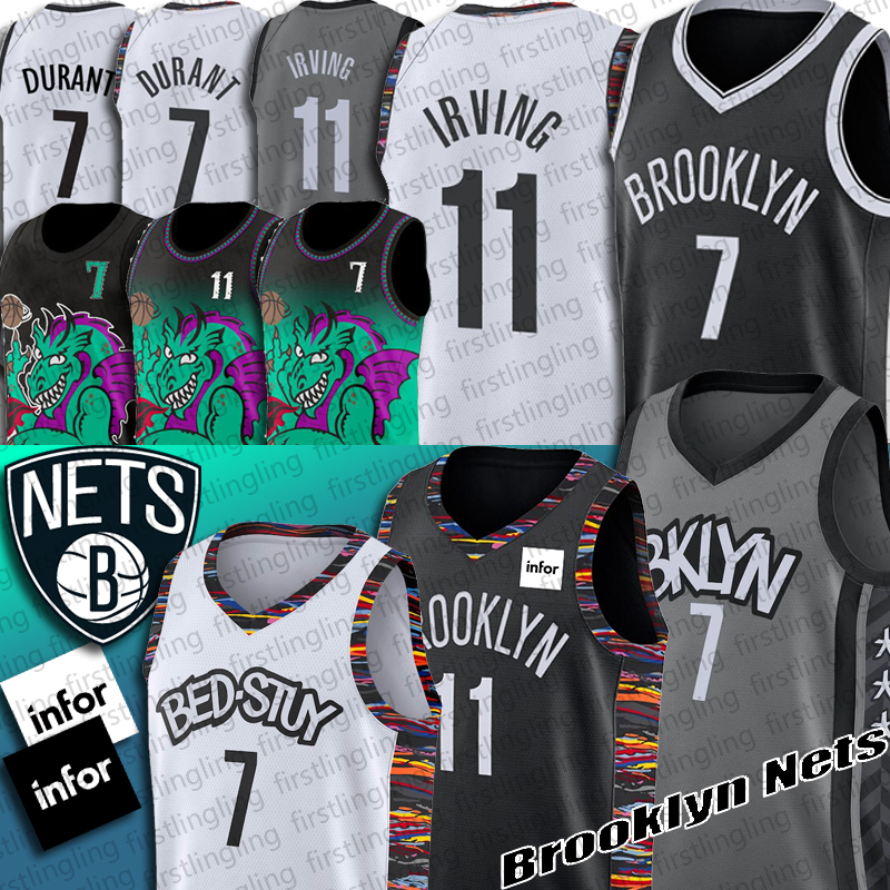 G-III Sports Mens Nets #11 Kyrie Irving Black Jersey City Edition
