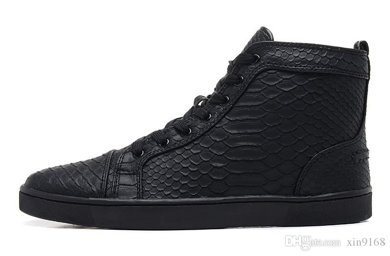 [original box]2016 New Black Snake Leather High Top Fashion Sneakers For Man and Women,Lovers Luxury Winter Casual Shoes size 36-46