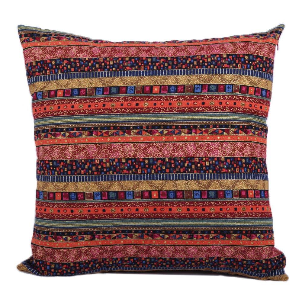 Housse De Canapé Shabby Chic housse de coussin style bohème décoratif throw pillows case shell rouge  pour salle de séjour canapé lit, 18 x 18 pouces (bohême) taie d'oreiller