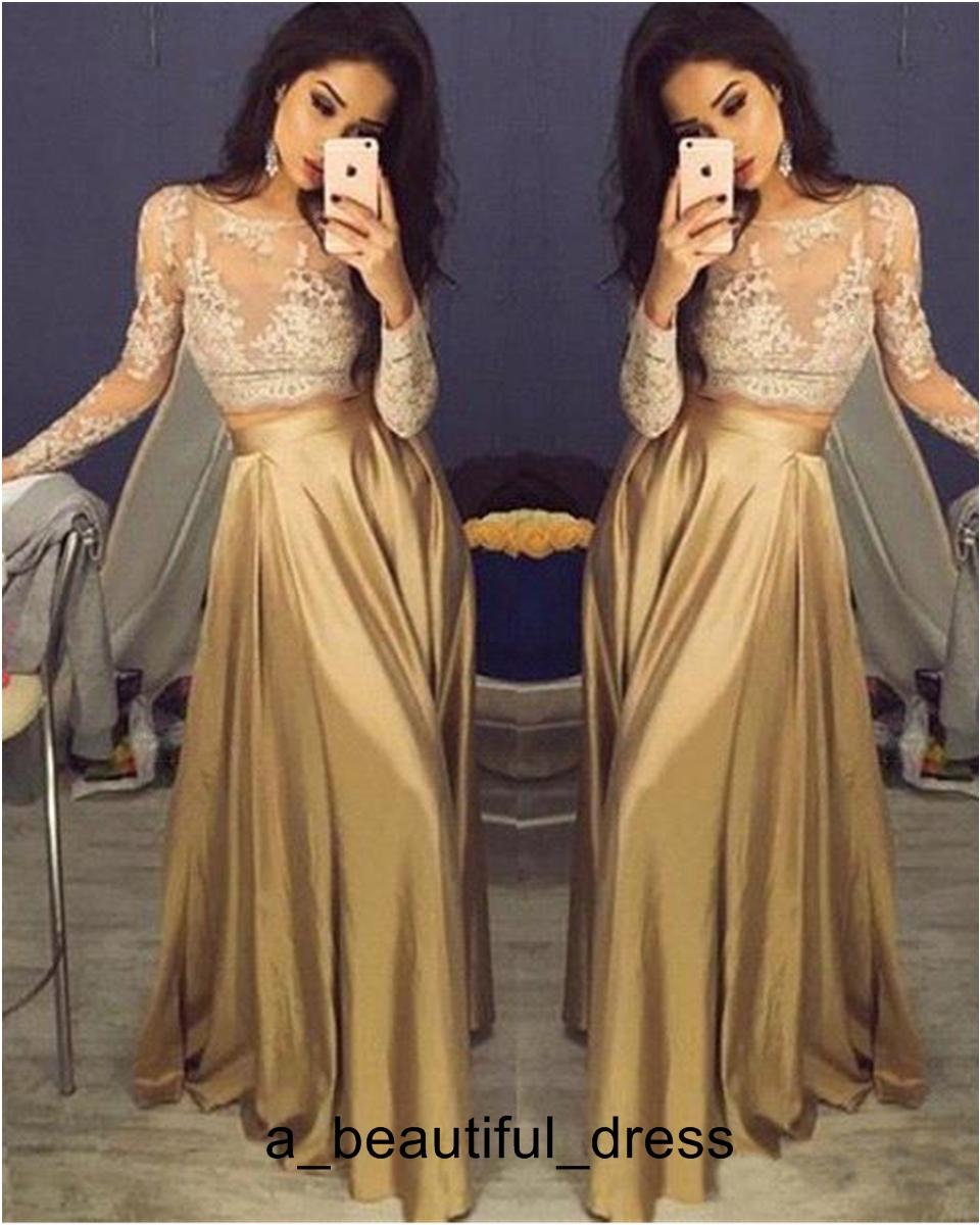 schöne lange goldene kleider online großhandel