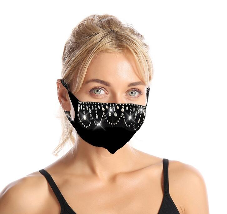 rinestone face mask mouth protection haze proof breathable face covers for women teen trendy design washable reusable
