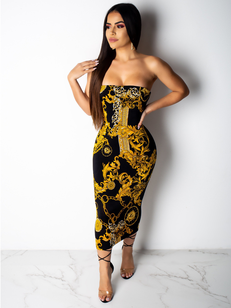 Fm6036 2019 roupas femininas peito ombros ouro colar filho vestido