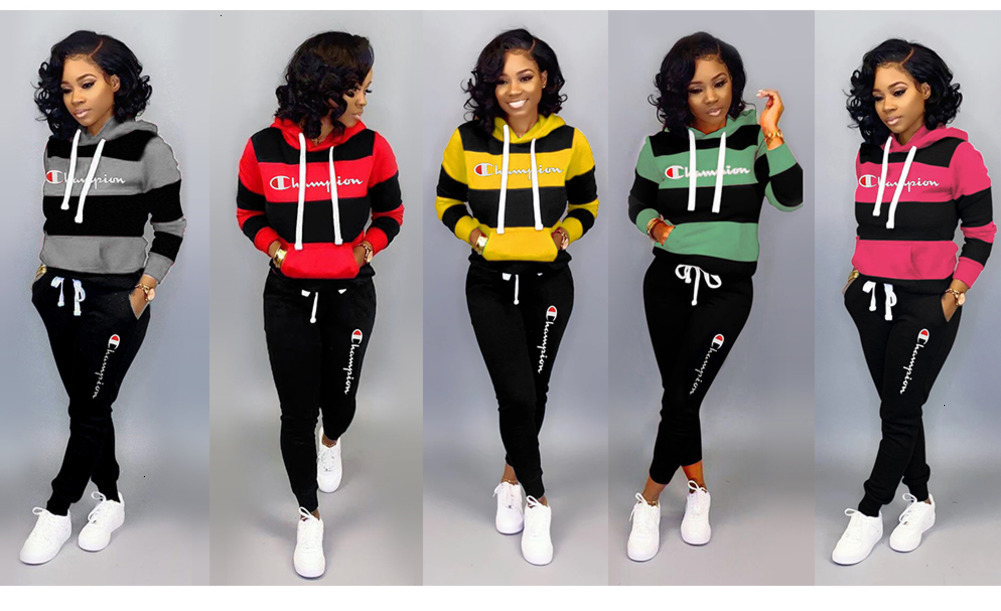 2019 Women Tracksuits Hoodies+Leggings Set Champion Bodycon Outfits Striped  Sportswear Winter Fall Casual Clothing From Cindaa01, $15.28