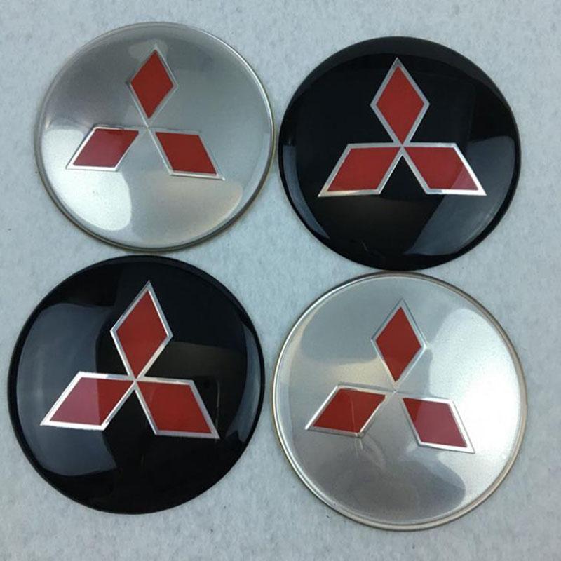 4x 55 mm pour MITSUBISHI Roue Autocollants Center Badge Centre Trim Cap Hub alliage