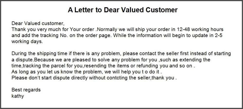 A letter to customer