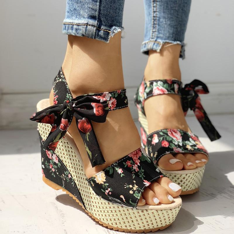 Women Lady Sweet Candy High Heel Wedge Platform Sandals Bowknot Ankle Lace  UK