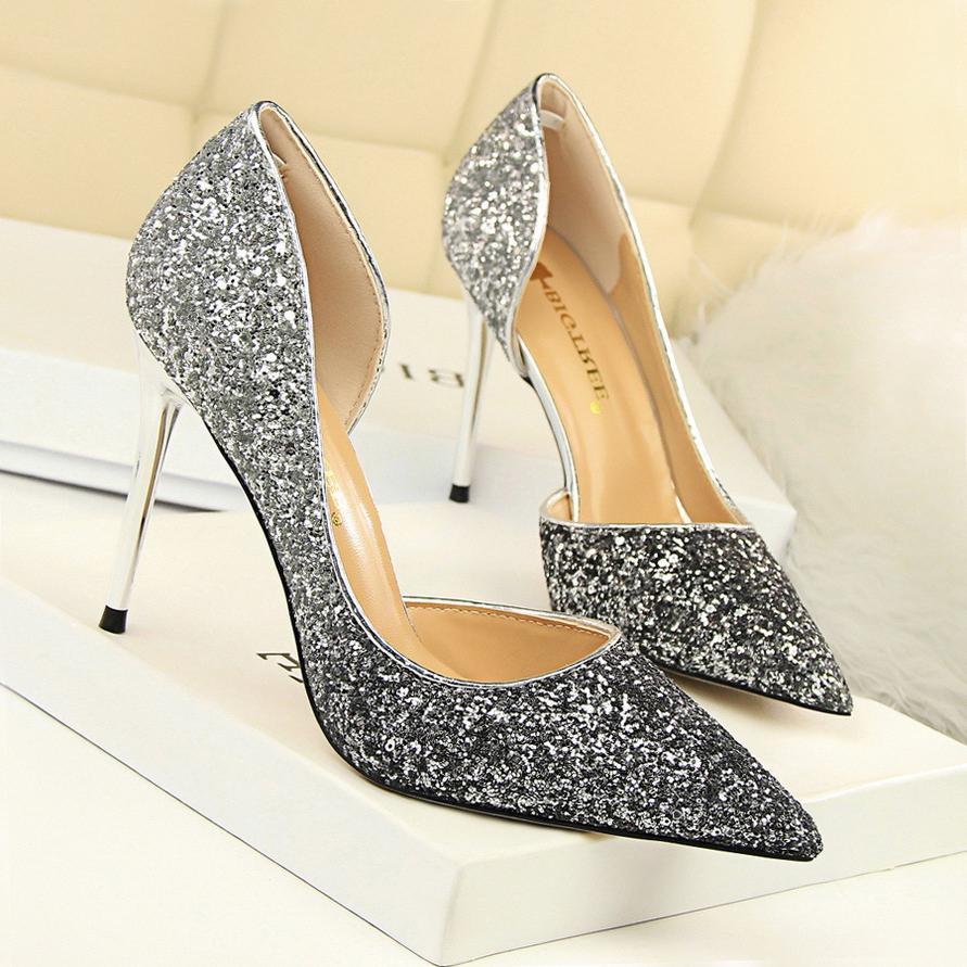 Goddess2019 Обувь для подружки невесты Высокий с мелким ртом Sharp Sexy Nightclub Постепенное изменение орфографии Цвет Paillette Side Air Женщина на одной обуви