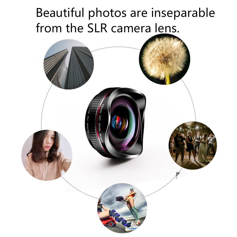 Obiettivo del telefono 16mm Super Wide Angle Microrange 2in1 HD Camera Lentes Macro fotografia esterna iPhone Xiaomi Mobile Cellphone