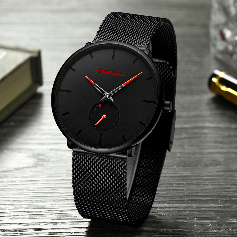 Crrju Watch Men Top Brand Luxury Quartz Watch Casual Quartz-watch Stainless Steel Mesh Strap Ultra Thin Clock Male Relog Y19052004