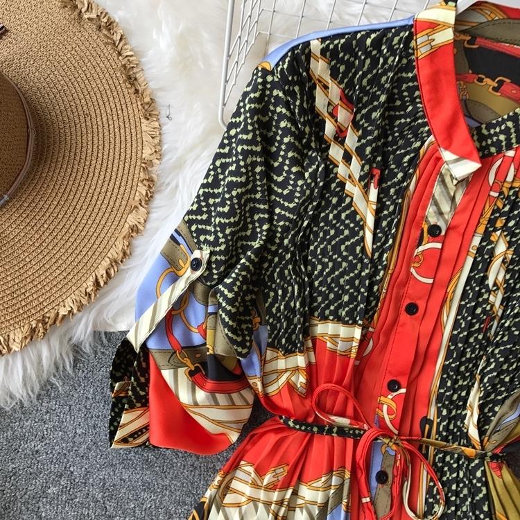 Robe en mousseline de soie printemps Ladies Urban Imprimé en vrac plissé Femmes Mode manches longues Festival de trois-quarts lanterne manches robe longueur genou