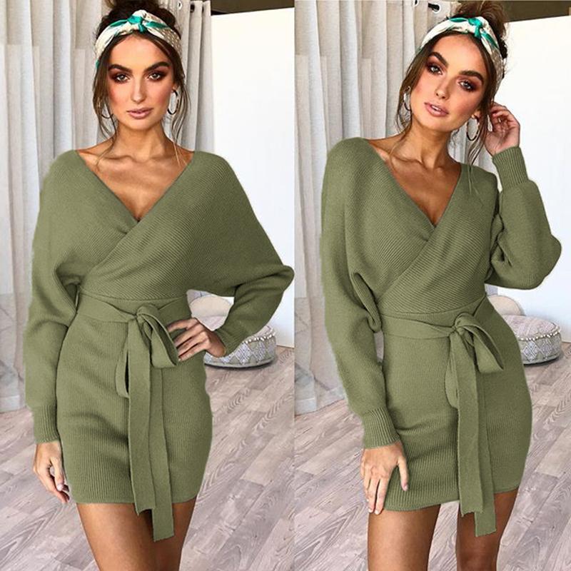Women/'s maniche lunghe pullover maglione maxi abiti invernali abito da sera