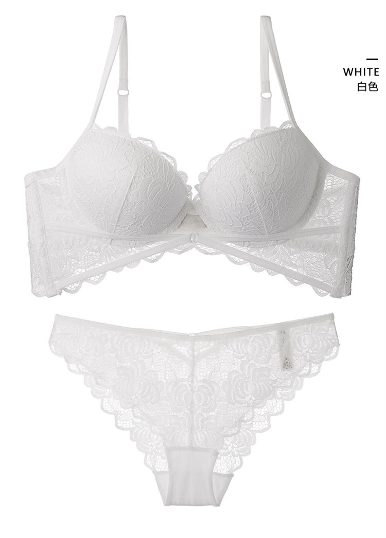 TERMEZY Hot Sexy Push Up Bra Set Brand Deep V Brassiere Thick Cotton Women Underwear Set Lace Embroidery Flowers Lingerie (12)
