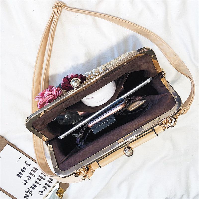 Women Pearl Handbag INS Popular Female Summer Flower Straw Bag Lady Fashion Shoulder Bag Travel Beach Woven Crossbody Bag SS7220 (2)