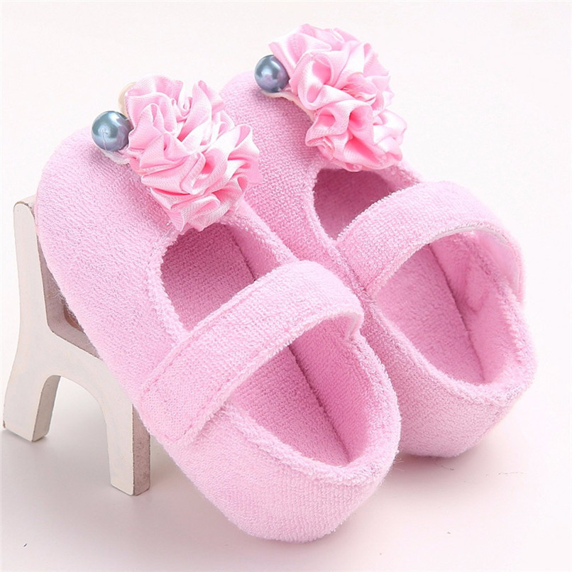 Baby Girls Shoes Fashion Newborn Infant Baby Girls Flower Pearl Soft Sole Anti-slip Princess Shoes Baby First Walker JE25#F (15)