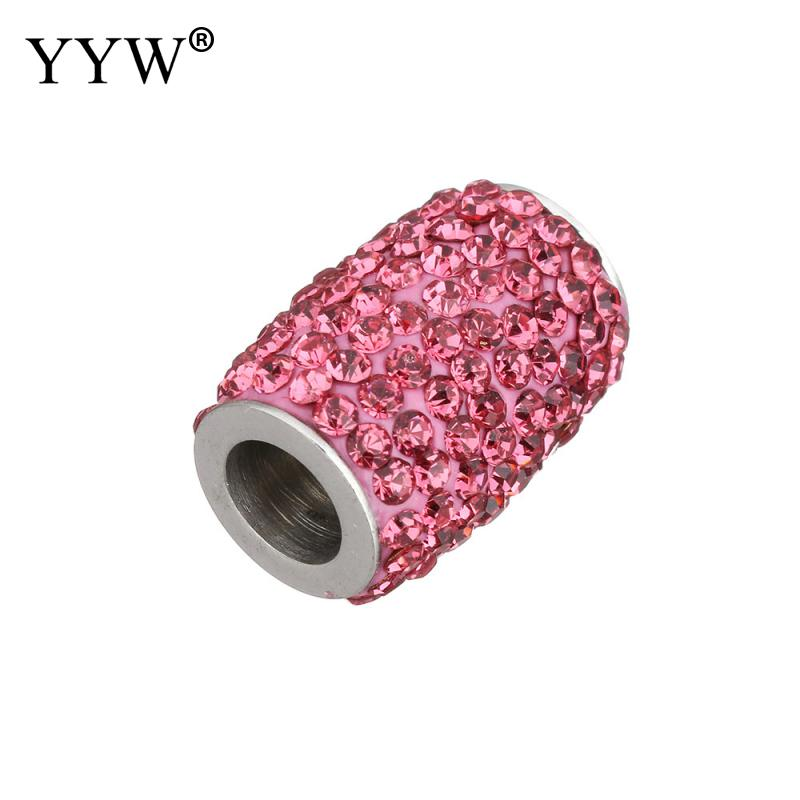 Clasps Stainless Steel Clasp With Rhinestone Connector Finding For Jewelry Making Hole 6mm fit Bracelet DIY 2018
