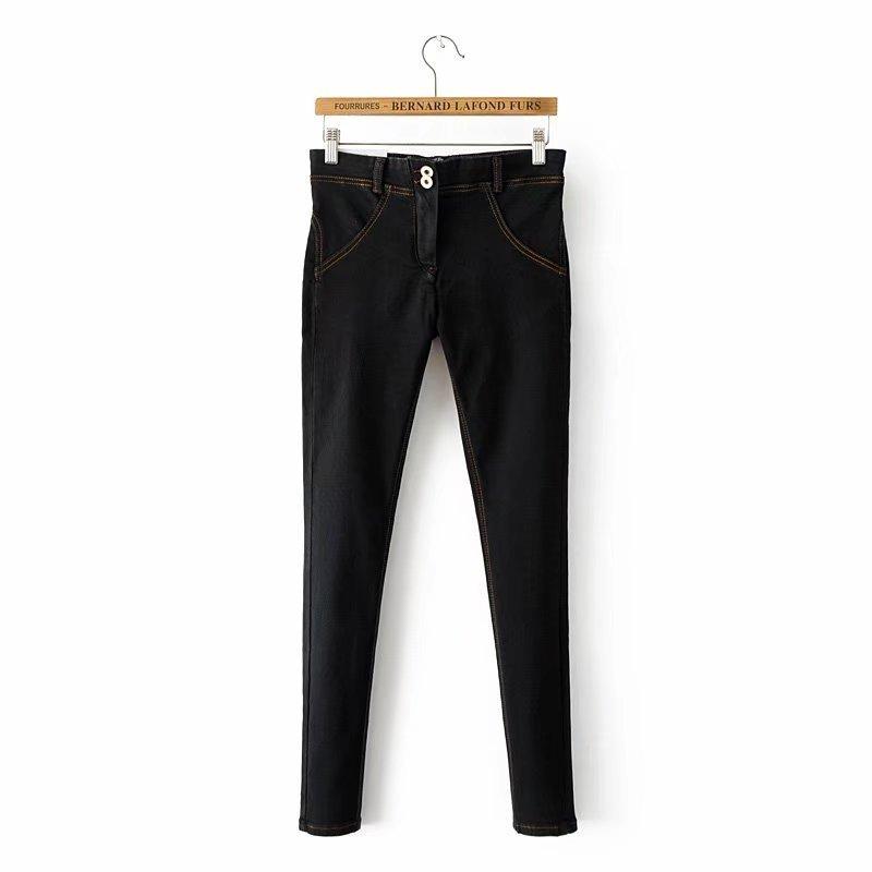 Moda flaca mujeres empuja hacia arriba el dril de algodón para mujer elástico pantalones vaqueros de cintura alta Femme Sexy Peach Pantalones Lift Hip pantalones femeninos C19041201