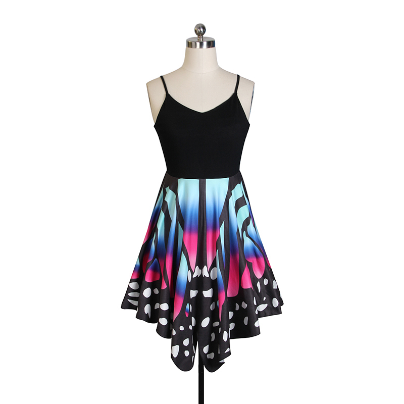 Women Sexy Party Clothes Print Butterfly Clothes Spaghetti Strap Sleeveless Dress Back Bandage Cross Clothes For Women Ws446m Y19071101