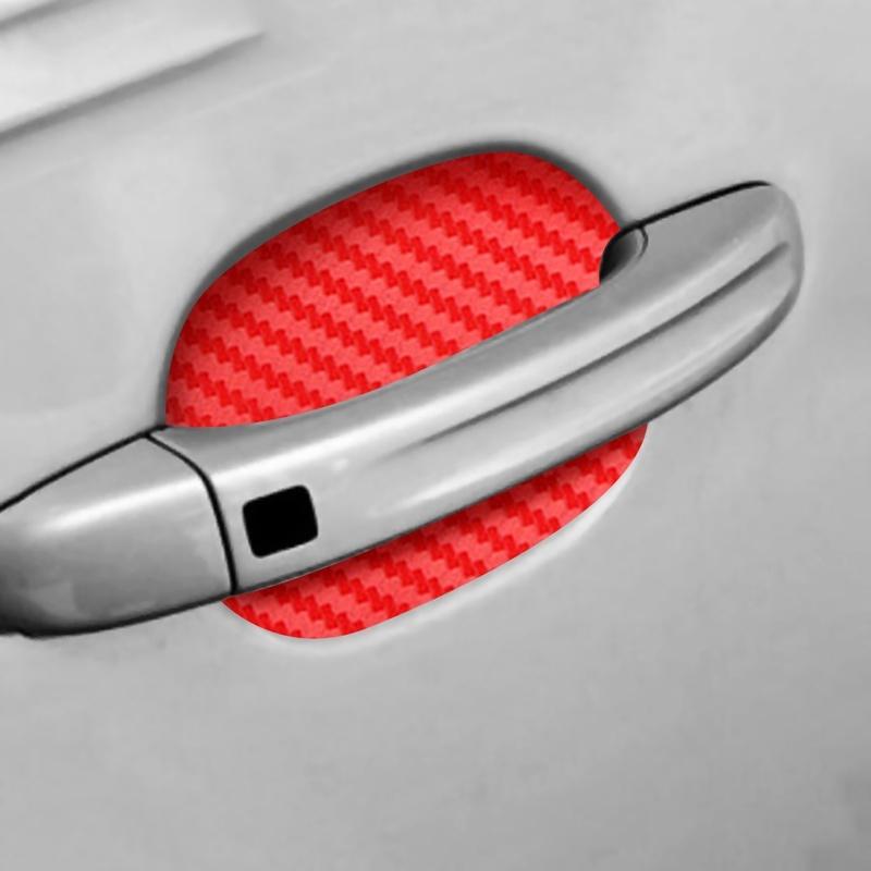 Car Door Cup Handle Paint Scratch Protector Sticker 3D Carbon Fiber Universal Auto Door Handle Scratch Protection Cover Guard Film Car Door Handle Safety Reflective Strips Red, 4 Pcs
