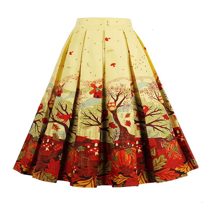 Kostlish Retro Print Flower Summer Skirts Womens High Waist Vintage Skirt Elegant A-Line Midi Women Skirt Plus Size XXL 22 (3)