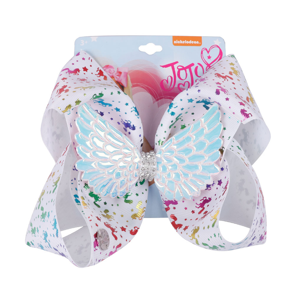 Unicorn Cheer Bow 8 inches Big Sparking Diamond Wings Hair accessories Children Clips Kids Hairpin for Dancing Cheerleading Girls