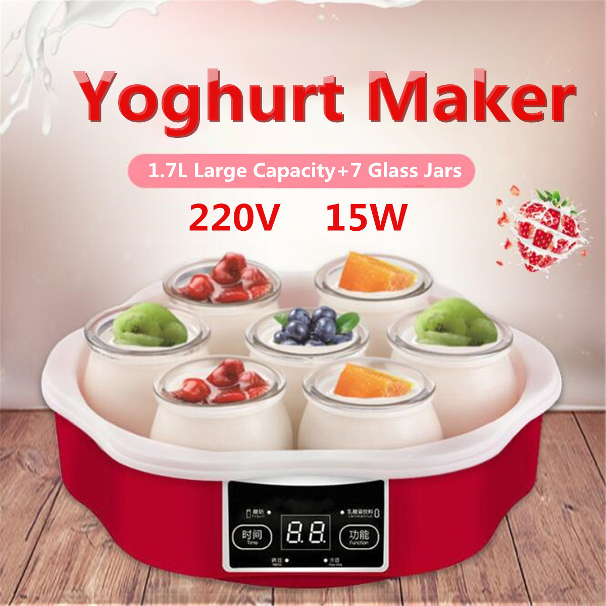 1.7l Electric Automatic Yogurt Maker Machine With Timer 7 Glass Jars Automatic Smart Touchs Screen Yoghurt Diy Tool Container T190619