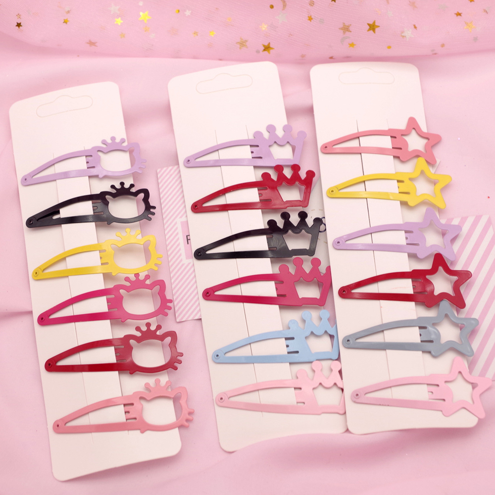New Kids Cartoon Cat Hairpins Girls Solid Color Crown Star Hair Clips Children Paint Bb Clips Hair Accessories Female