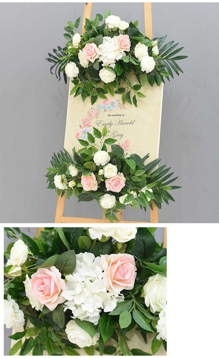 JAROWN Wedding Flower Row Welcome Sign Simulation Floral Hotel Creative Guide Decorations Photography Props Home Door Flower (24)