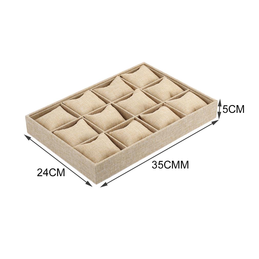 12 Grids Assista Vitrine Pulseira Colar Titular da Jóia Caixa Recipiente Com Travesseiro Estilo Grosso Cânhamo Cajas Para Relojes