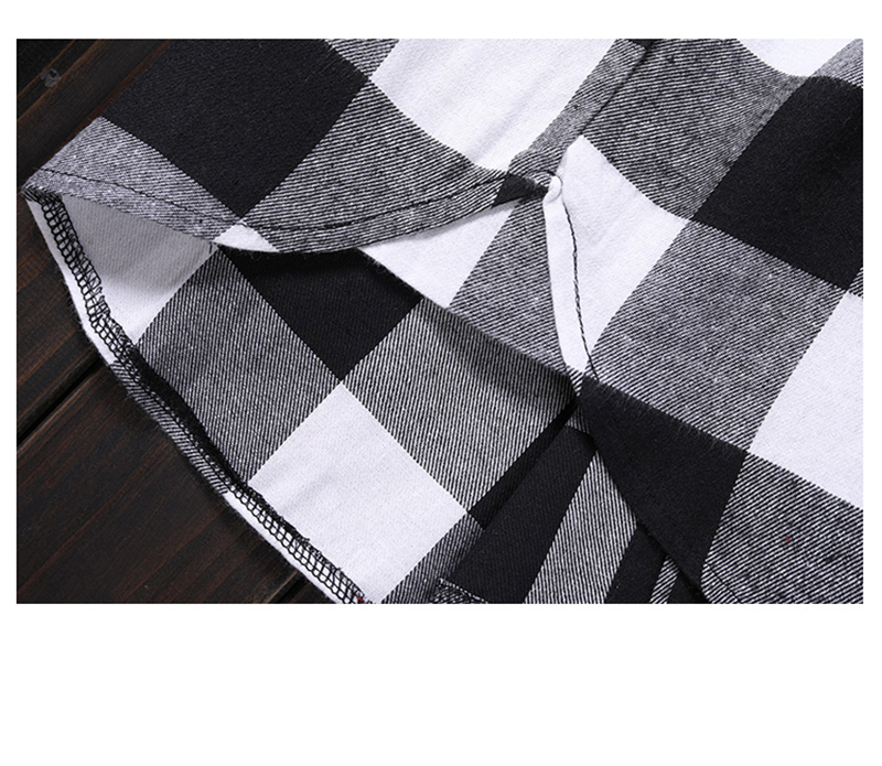 Red And Black Plaid Patchwork Shirt Men (23)