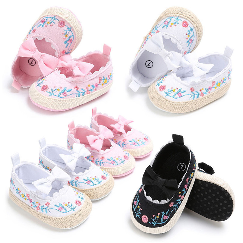 Baby Girls Shoes Fashion Newborn Infant Baby Girls Canvas Floral Bowknot Lace Shoes Soft Sole Anti-slip First Walker M8Y04 (1)